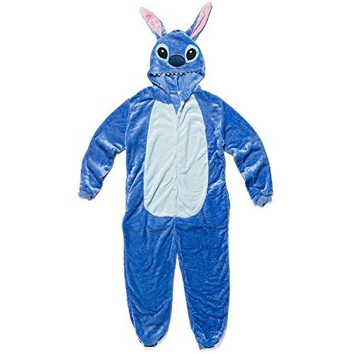 Katara 1744 - Grenouillère Combinaison Adultes Tenue de Nuit Pyjama Kigurumi - Taille S 145-155cm Lilo & Stitch Bleu