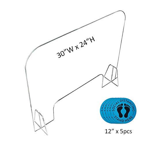"Plexiglass Sneeze Guard, Clear Acrylic Reception Protective Sneeze Guard Shield for Counter Desk (30""W X 24'H)"