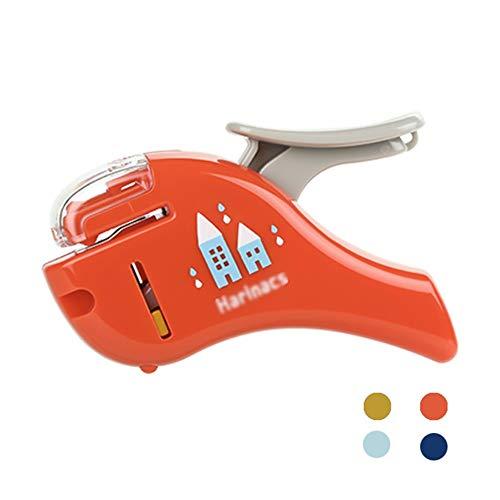 Stapleless Grapadoras, Grapadoras De Oficina, 5 Capacidad De La Hoja, Japón Papelería, Adecuado For Su Uso con Una Sola Mano (Color : Orange)