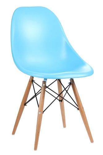 Premier Artículos para el hogar - Set de 2 sillas de plástico ABS con Patas de Madera de Color Azu