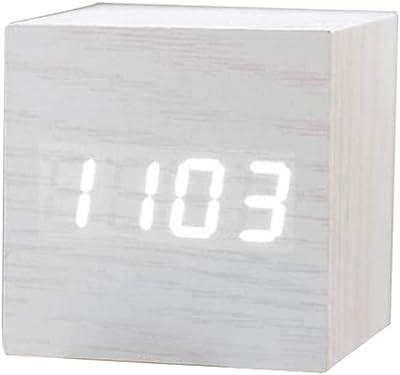REDAPP Cuadrado De Madera Digital USB Escritorio Reloj Despertador ...