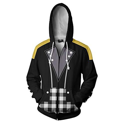 haopangshui Hombres Hoodies Chaqueta por Riku-Keyblade 3D Impresión Llave Espada-Fan Cremallera Sweatshirts Tops Teenager/Negro/S