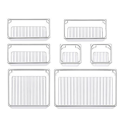 HALOVIE 7Pcs Cajas Organizadoras Organizador Maquillaje Bandejas de Plástico Transparente Almacenamiento para Cajones Papelería Cubiertos, Refrigerador, Cocina, Joyería, Habitación, Oficina, Baño