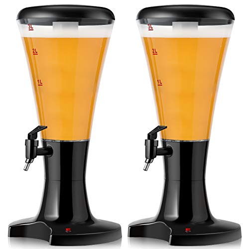 Goplus 2PCS Beer Tower Dispenser 3L Cold Draft Beer Tower Beverage Dispenser with LED Lights &...