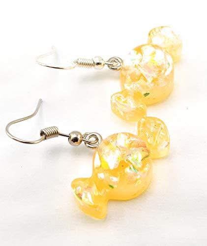 Stechschmuck Ohrringe Ohrhänger Handmade Gelb Bonbons Sweets Candy Süßigkeiten Damen Kitsch Kawaii 1 Paar