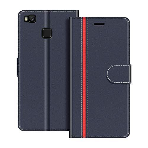 COODIO Handyhülle für Huawei P9 Lite Handy Hülle, Huawei P9 Lite Hülle Leder Handytasche für Huawei P9 Lite Klapphülle Tasche, Dunkel Blau/Rot