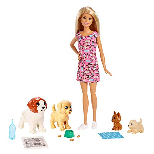 Barbie FXH08 - Hundesitterin Puppe und Welpen inkl. 4 Haustieren und Zubehör, Puppen Spielzeug und Puppenzubehör ab 3 Jahren