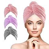 URAQT Toallas para Secar El Pelo, 3pcs Turbante de secado rápido, Coral Fleece Toallas para el cabello con Botón, Gorro de Pelo Seco para Mujeres para SPA, Maquillaje, Secar Pelo, en Ducha