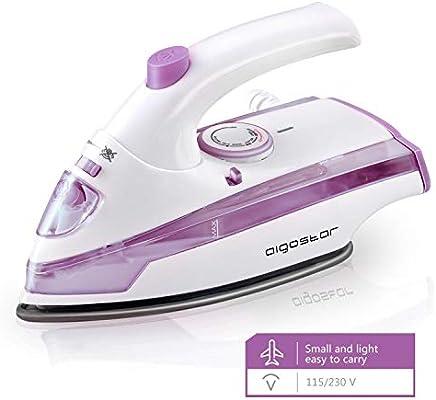 Aigostar Purpletravel 31HHM - Plancha de vapor. Doble voltaje (115V + 230 V). Diseño portátil especial para viajes. 800W, suela de teflón antiadherente, 45 ml. Color violeta. Diseño exclusivo.