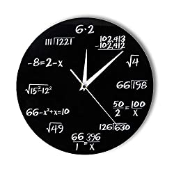 N /A Wall Clock Engineering Numbers Math Wall Clock Math Equation Decorative Clock Pop Quiz Wall Art Science Gift for Math Geeks and Teachers