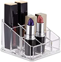 XINGZHI 9 Compartments Clear Acrylic Small Lipstick and Lip Gloss Holder Makeup Brushes Nail Polish and Bottles Organizer Rack Cosmetic Display Cases Countertop 3.7 x 3.7 x 2.7 inches