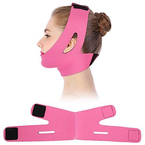 Adelgazate Facial Vendaje Máscara de la mejilla que la cara V Face Line Cinturón transpirable Levante la correa Anti Arrugas(Rosa) ✅