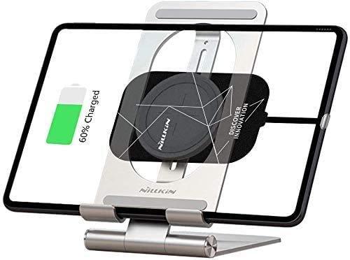 NILLKIN Soporte para iPad con Receptor de Carga inalámbrico, 2 en 1 Tablet Cargador inalámbrico Soporte para Soporte Dock Set Ajustable para iPad 7th/6th/5/4/3 Generation, iPad Air 3 2, iPad Pro 10.5