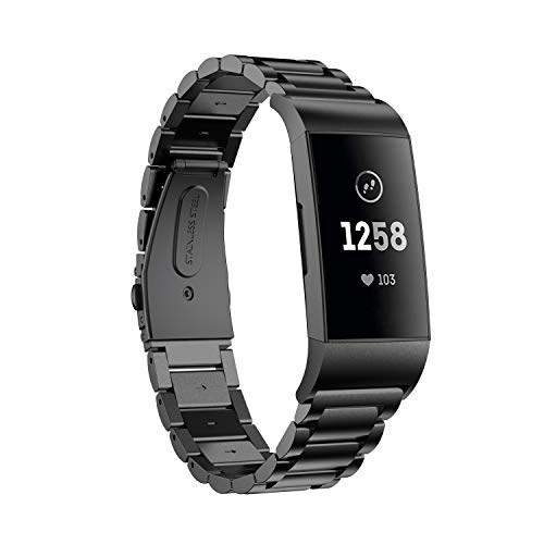 Aimtel armband compatibel met Fitbit Charge 3/Charge 3 SE/Charge 4/Charge 4 SE armband, roestvrij staal, metaal, vervangbandje voor Fitbit Charge 3 & Charge 4
