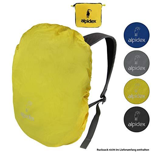 ALPIDEX Rucksack Regenschutz wasserdichte Regenhülle Kordelstopper Packsack Verschiedene Größen, Farbe:Yellow, Volumen:6-15 Liter