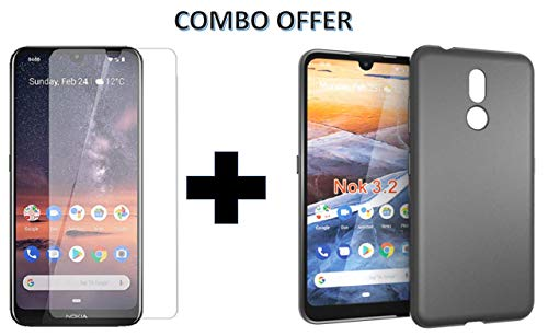 Casodon Tempered Glass & Back Cover, [Combo Candy Black] Premium Real 2.5d 9H Anti-Fingerprints & Oil Stains Coating Hardness Screen Protector Guard for Nokia 3.2