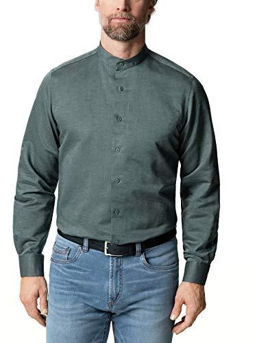 Walbusch Herren Hemd Stehkragen Leinenhemd einfarbig Olivgrün 43/44 - Langarm extra lang