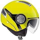 Casco Jet moto scooter con visierino lolare nero parasole helmet areato sfoderabile omologato estivo vespa città visibilità (Giallo Lucido, S)