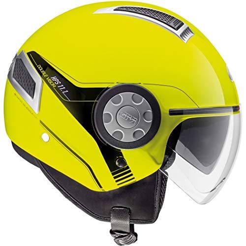 Casco Jet moto scooter con visierino lolare nero parasole helmet areato sfoderabile omologato estivo vespa città visibilità (Giallo Lucido, XS)