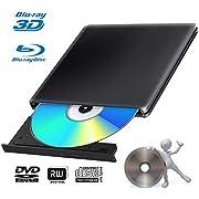 External 4K 3D Blu Ray DVD Drive Burner, Portable Ultra Slim USB 3.0 Blu Ray BD CD DVD Burner Player Writer Reader Disk for Mac OS, Windows 7/8.1/10 /Linxus, Laptop, PC