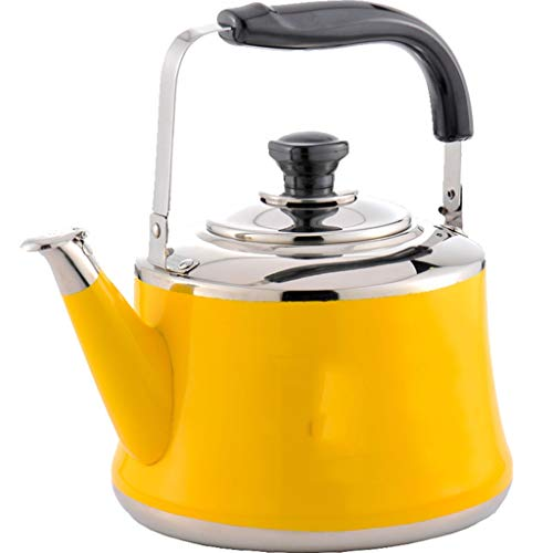Whistling Tea Kettle Food Grade Stainless Steel Tea Kettles Stovetop & Induction Cooker Tea Kettle Stovetop Teapot Olding Handle,Fast to Boil (Color : Yellow, Size : 1.5L)