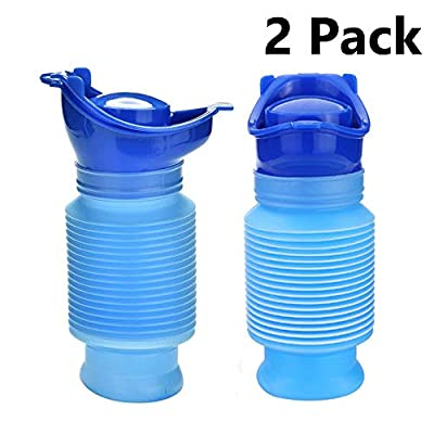 OUTFANDIA 2 Packs Emergency Urinal 750 ML, Portable Mini Outdoor Camping Travel Shrinkable Personal Mobile Toilet Potty Pee Bottle for Kids Adult