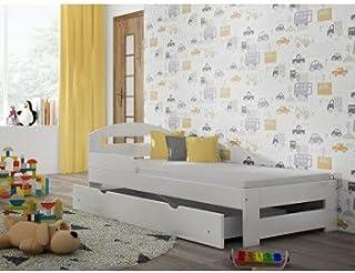 Children's Beds Home Lit Simple en Bois Massif - Kiko avec tiroirs et Mousse - Matelas en Fibre de Coco (200x90 + tiroirs...
