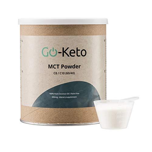 Go-Keto MCT Pulver, 250g   Premium MCT C8 C10, 100% Kokosöl palmölfrei   perfekt für die Keto Diät   idealer Keto Kaffee Creamer für Bulletproof Coffee oder Keto Shake   Paläo, vegan, Low Carb