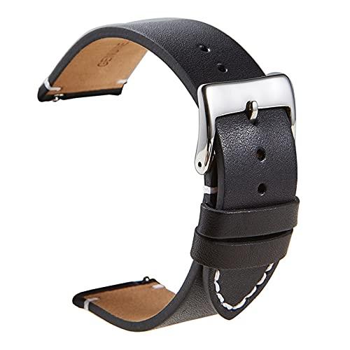 LBWNB Correa de piel de becerro de liberación rápida, correa de piel suave mate para relojes inteligentes 16, 18, 20, 22, 24 mm (color de la correa: negro, ancho de la correa: 20 mm)