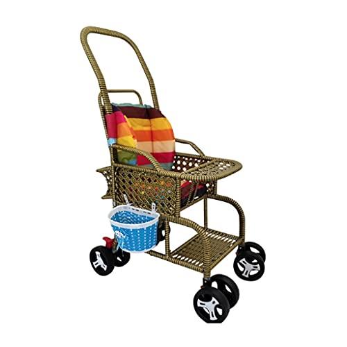 Yyqx sillas de Paseo Cochecito de bebé Bambú y ratán Silla Plegable de ratán Los cochecitos para bebés Pueden Sentarse y reclinar el Auto de bambú de bambú. (Color : B)