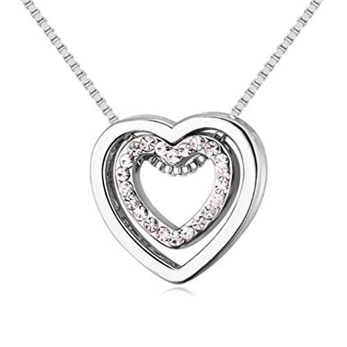 Gluckliy Crystal Double Heart Pendant Necklace, You Are always in My Heart Double Heart Hollow-out Necklace for Women (Silver)