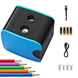Electric Pencil Sharpener, Auto Stop for No.2/Colored Pencils(6-12mm), USB/Battery Operated in School Classroom/Office/Home(USB Cable, 4 AA batteries,4 replacement blades and 1 brush included)