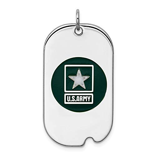 Saris and Things 925 Sterling Silber rhodiniert us Army Star Dog Tag anhänger