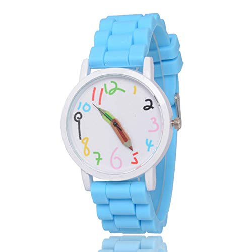 Weihuimei 1 Stück Silikon Sport Quarz Frauen Fashion Uhren Ziffernblatt Bleistiftzeiger Armbanduhr für Mädchen Jungen Kinder Kinder, babyblau, 1 Stpck