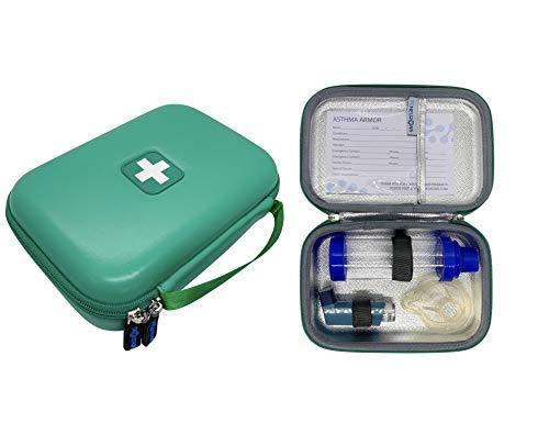 86NEURONS - The Original Asthma Inhaler Travel case and Medicine Bag. Insulated Hard case. Use for Asthma Allergy meds for Kids and Adults. Fits Inhaler Spacer epipen mask Medication (Green)