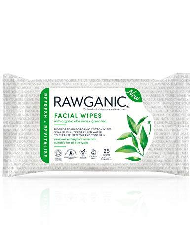 Rawganic Bio Gesichtstücher, parfümfrei, 100% organische Baumwolle, biologisch abbaubar, mit Aloe Vera & Grünem Tee, COSMOS zertifiziert, Packung mit 25 Tüchern