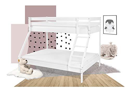 XXL Discount Etagenbett 140x200 und 90x200 cm Weiß Doppelstockbett für Kinder und Erwachsene