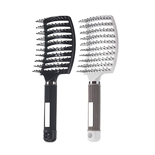 2 Pack Professional Vented Curved Detangling Hair Brush,Fast Drying Styling Massage Hairbrush for Tangled Long Thick Curly Hair (Black, White)