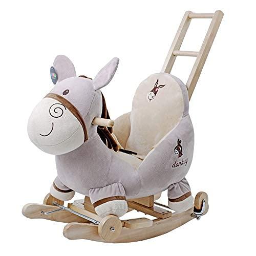 Caballo mecedora del bebé, carro de madera deslizante de los niños con la luz LED/el paseo de doble propósito en el carro de empuje para el regalo de cumpleaños del niño pequeño WDH666