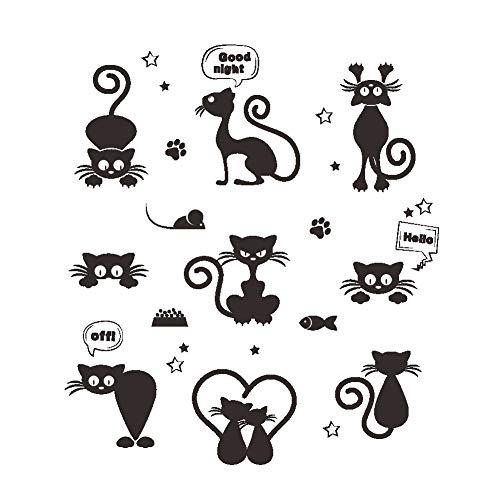ufengke Wandtattoo Katze schwarz lustig für Lichtschalter oder Steckdose Wandsticker Selbstklebend Klein für Wohnzimmer Schlafzimmer