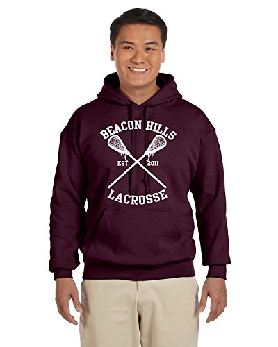 ALLNTRENDS Hoodie Bacon Hills Lacrosse Player Name and Number Maroon Color (L, Stilinski 24)
