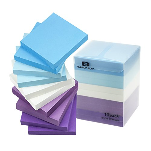 Early Buy 5 Water Color Sticky Notes Self-Stick Notes 3 in x 3 in, 100 Sheets/Pad, 10 Pads/Pack in Box