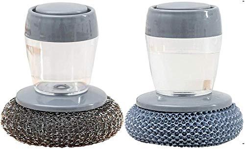 2 cepillos de limpieza multifuncionales, estropajos con asa, relleno automático de acero inoxidable reutilizable para restaurantes y cocinas