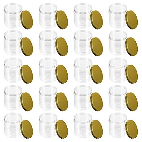 Angoily 20 Tarros de Albañil de Ancha Tarros de 250ML con Tapas Latas de Plástico Tarros de Dulces Transparentes para Dulces de Cocina de Café Fiestas Navideñas de Halloween Niños