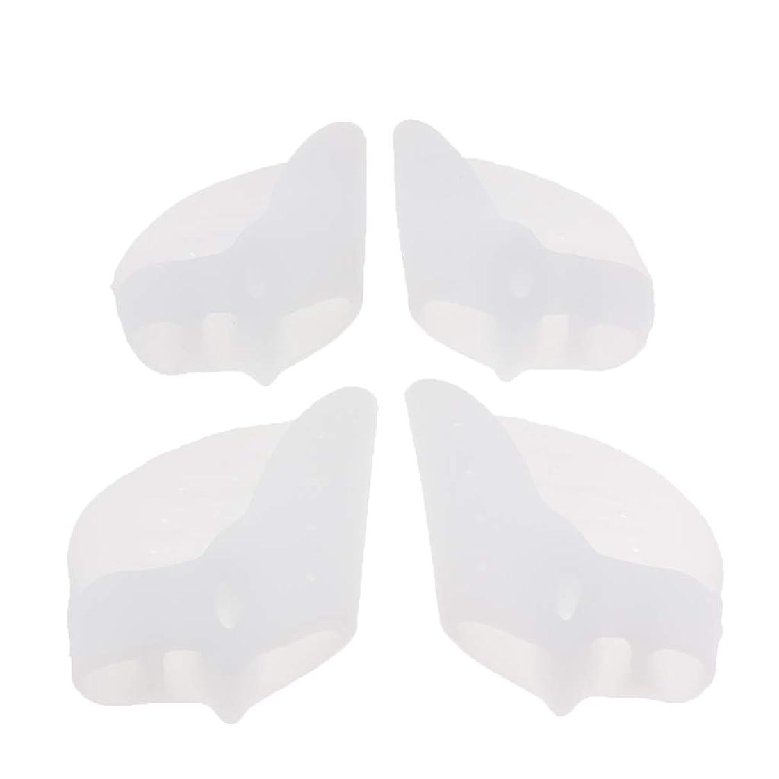 気難しいチョップ閃光Fenteer つま先クッション 保護パッド つま先セパレーター シリコン 外反母趾 矯正 耐久性 2ペア 全2色 - 白, 7×5.5cm