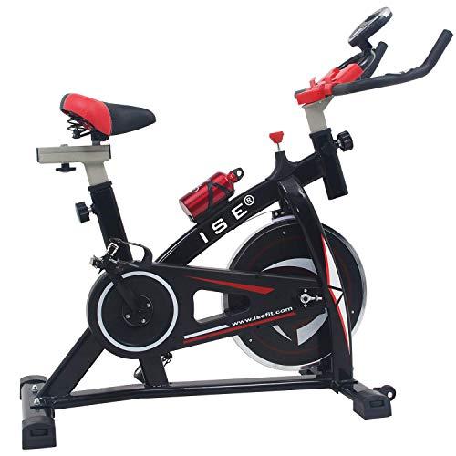 ISE Bicicleta Spinning Estática con Sensor de Pulso, Volante de Inercia, Ajustable Resistencia,Bicicleta Fitness de Gimnasio Ejercicio con Pantalla,Soporte, Botella,Sillín Ajustable,Máx.120kg,SY-7802