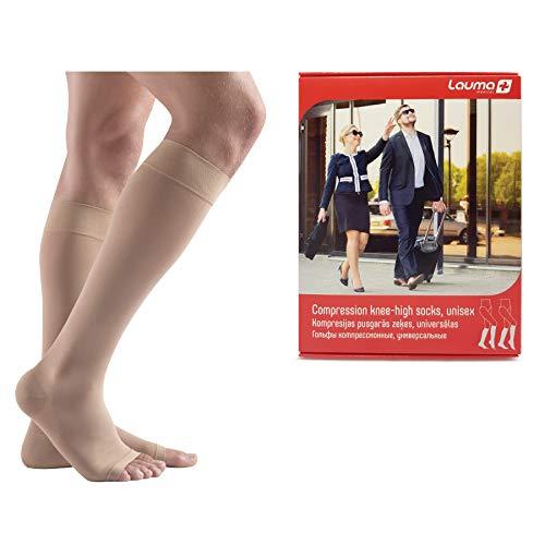 Lauma Medical, Medias de Compresión Hasta la Rodilla, con Punta Abierta para Mujeres y Hombres, Calcetines de Compresión Largos de 23-32 mmHg, Clase 2.