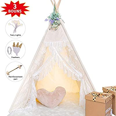 HAN-MM Floral Classic Ivory Kids Teepee Kids Play Tent with Ferry Light and Feathers Childrens Play House Tipi Kids Room Decor