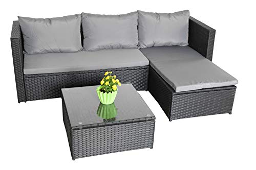 Jet-line Garden Lounge Garden Sofa Self Assembly Mountains III Black Grey Garden Furniture Lounge Garden Equipment Garden Balcony Patio Conservatory
