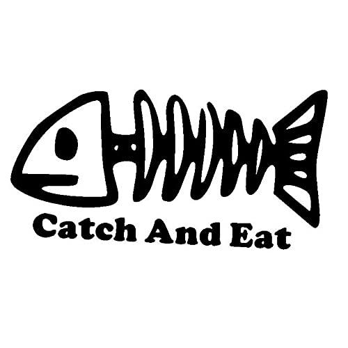 PJYGNK Sticker de Carro 12,7 CM * 6,4 CM Pegatina de pez de Hueso para Coche, cañas de Pescar, carretes, Barcos de fundición, Lago, Estilo de Coche, Pegatina para Coche, Astilla Negra C8-0806
